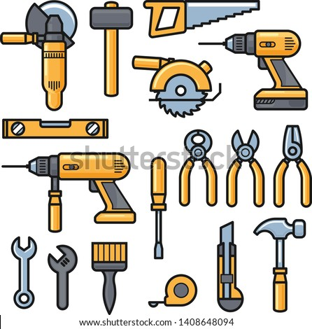 Building and repair tools icons, construction tools kit - drill, hammer, screwdriver, saw, file, putty knife, ruler, helmet, roller, brush, tool box