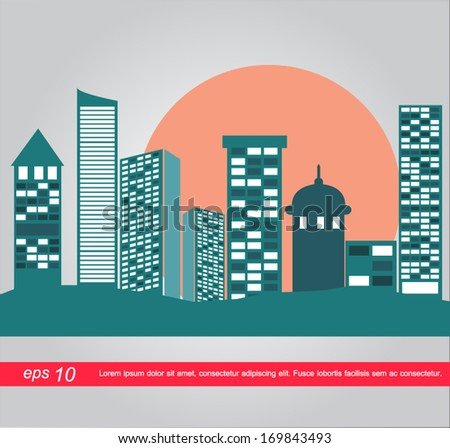 building and sun vector icon