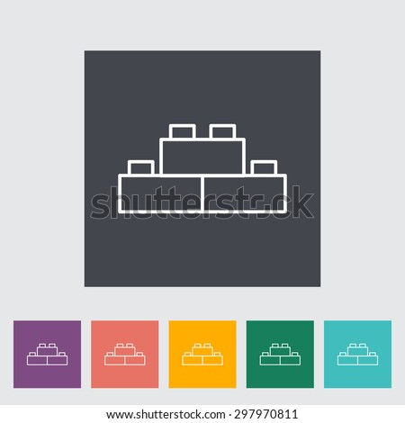 Building block thin line flat vector related icon set for web and mobile applications. It can be used as - logo, pictogram, icon, infographic element. Vector Illustration.