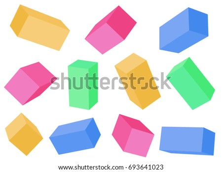 Building blocks. Cubes at different angles. Multicolored vector blocks. Set of rectangular blanks. Vector boxes with different angles.