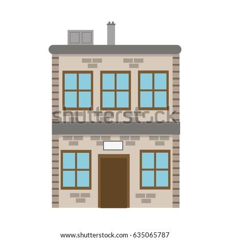 building brick structure, window, chimney, door facade