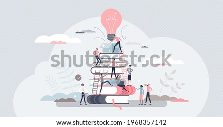 Building business with corporate knowledge and teamwork tiny person concept. Company growth gain and new startup project promising beginning vector illustration. Start with creative employees and idea