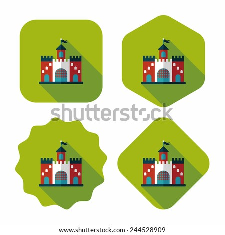 building castle flat icon with