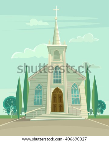 Building church. Vector flat cartoon illustration