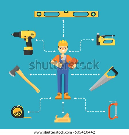 Building concept with hand tools icons and worker in uniform and helmet vector illustration. Building tools for carpentry and home renovation. DIY set. Hardware store banner. Construction equipment.