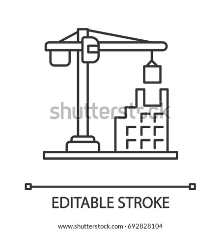 Building, constructing linear icon. Thin line illustration. Tower crane. Contour symbol. Vector isolated outline drawing. Editable stroke