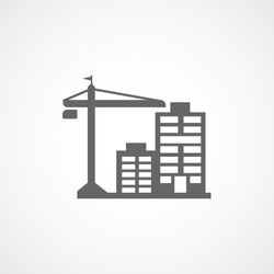 Building Construction Crane And Apartment House Flat Icon On White Background