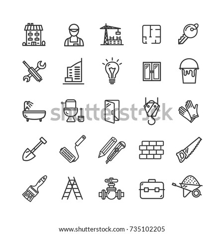 Building Construction Elements and Tools Black Thin Line Icon Set for Web and App Include of Roller Brush, Trowel, Shovel and Window. Vector illustration