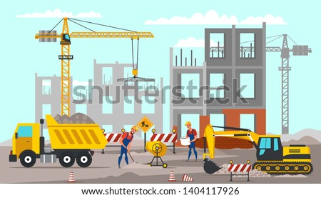 Building construction flat vector illustration. Handymen digging ground with shovel. Builders cartoon characters wearing safety equipment. Road works. Professional heavy machinery drawing