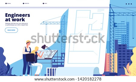 Building construction landing. Architects and construction workers. Architectural service business web page vector design. Illustration of architect construction, worker engineering, professional work