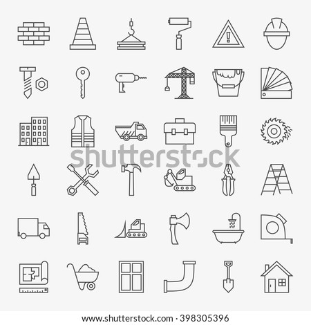 Building Construction Line Art Design Icons Big Set. Vector Set of Modern Thin Outline Working Tools and Industrial Items.