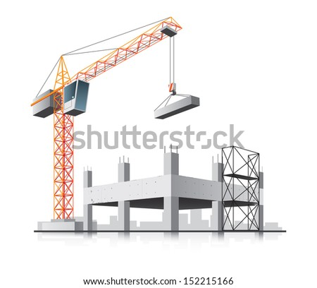 Building construction with crane in the city on white background