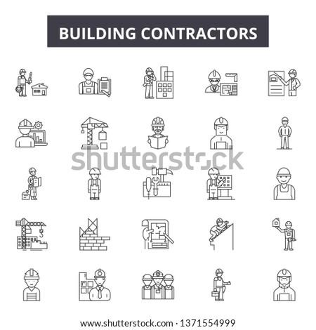 Building contractors line icons, signs set, vector. Building contractors outline concept, illustration: construction,building,contractor,worker,equipment,helmet,set