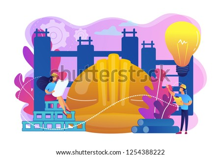 Building engineers using smart materials. Innovative construction materials, construction technology innovation, hi-tech bulding resources concept. Bright vibrant violet vector isolated illustration