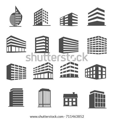 Building estate icons set vector