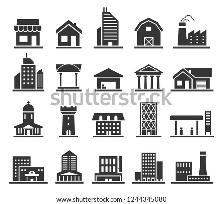 Building facade construction and town home icon set. Flat roof and walls, city house or factory. Vector line art illustration isolated on white background