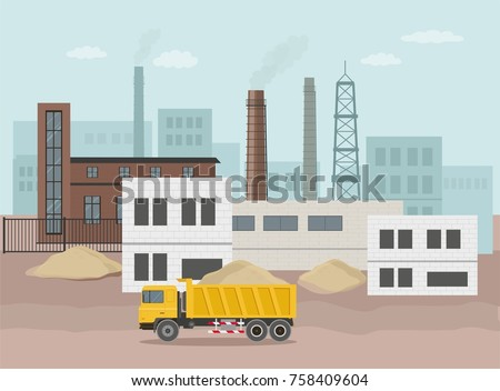 Building factory industry zone. Construction specialized transport and lorry. Flat illustration. Vector graphic