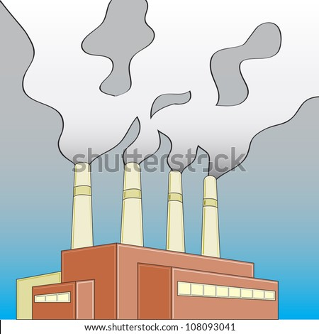 Building/Factory/Power Plant releasing smoke that is shaping into a skull.
