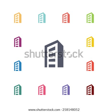building flat icons set. Open colorful buttons