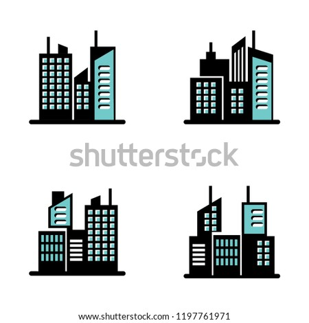 Building flat style set isolated on white background