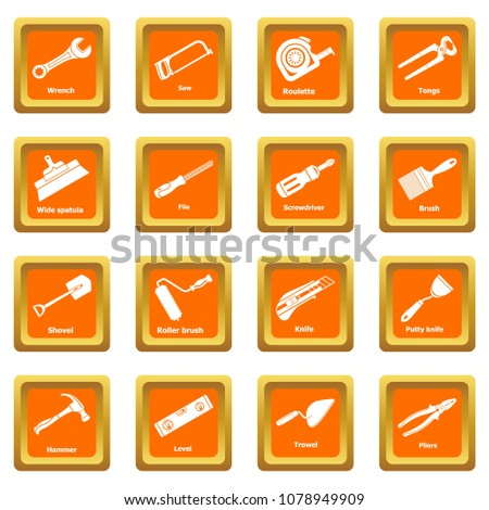 Building hand tool icons set vector orange square isolated on white background
