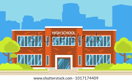 Building high school of the American or European  with trees and bushes. A city landscape with a house facade with windows and doors. In flat cartoon style a vector. Education of children.