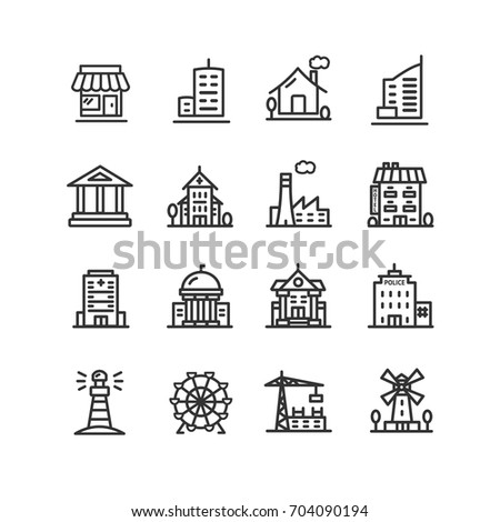 Building House or Home Black Thin Line Icon Set for Web and App Include of Apartment, Factory, Hotel, Windmill and Warehouse Construction. Vector illustration of Homes and  of different buildings