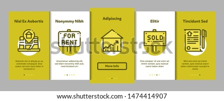 Building House Sale Vector Onboarding Mobile App Page Screen. Building Sale And Rent Tablet, Web Site, Smartphone Application Linear Pictograms. Garage, Skyscraper, Truck Cargo Illustrations
