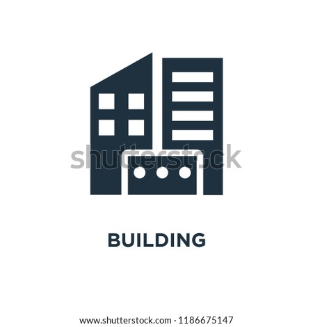 Building icon. Black filled vector illustration. Building symbol on white background. Can be used in web and mobile.