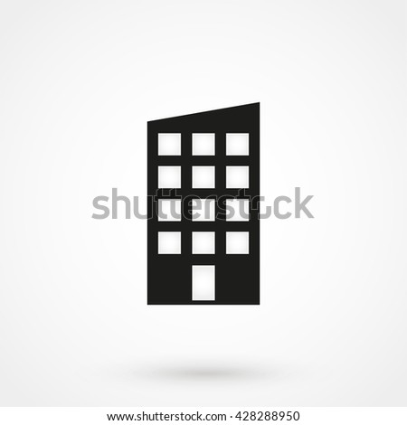 building Icon isolated on background. Modern flat pictogram, business, marketing, internet concept. Trendy Simple vector symbol for web site design or button to mobile app. Logo illustration