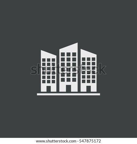Building icon isolated on black background
