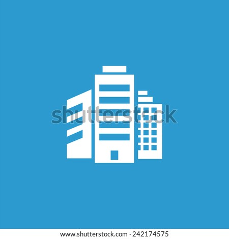 building icon, isolated, white on the blue background. Exclusive Symbols