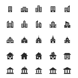Building icon large set. Building and estate symbol silhouette black collection. Vector isolated on white