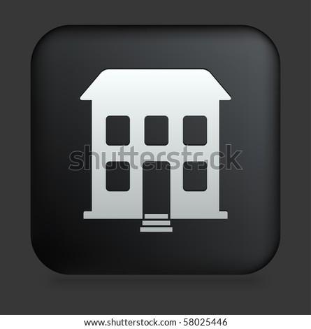 Building Icon on Square Black Internet Button Original Illustration