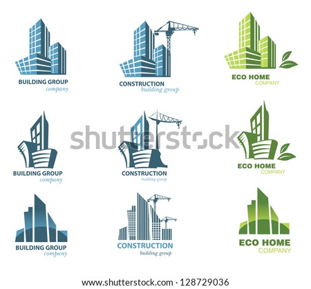 building icon set abstract