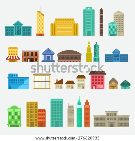 Building  icon set concept for use to city landscape condominium, house, tower. Vector flat design
