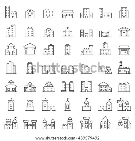 Building icon set in thin line style. Vector symbols.