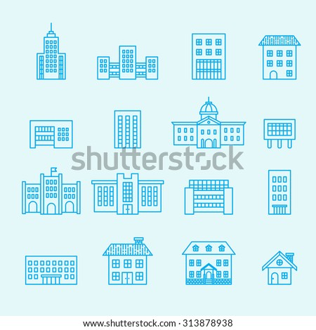 building icon set, line vector