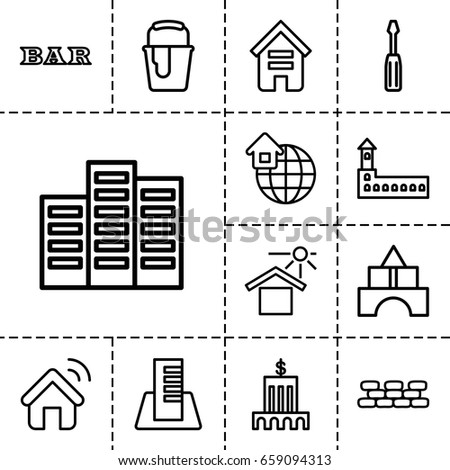 Building icon. set of 13 outline buildingicons such as building, castle, toy tower, bar, screwdriver, paint bucket, house under sun, global home, house signal, brick wall