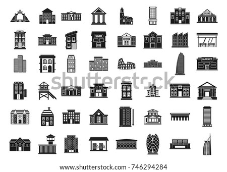 Building icon set. Simple set of building vector icons for web design isolated on white background