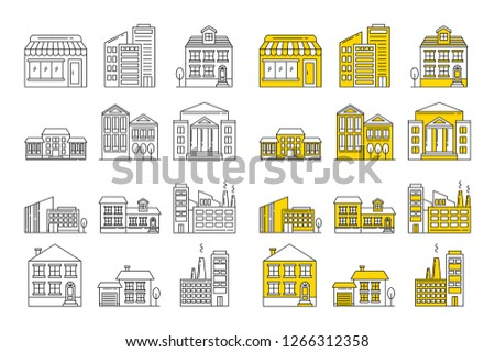 Building icon set. Vector buildings outline icons. Icons for retail, investment, office and industrial buildings, and architecture.