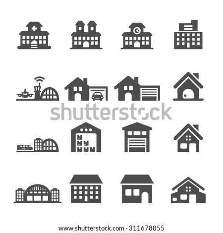 building icon set 7  vector