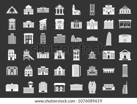Building icon set vector white isolated on grey background