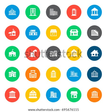 building Icons in colorful circles