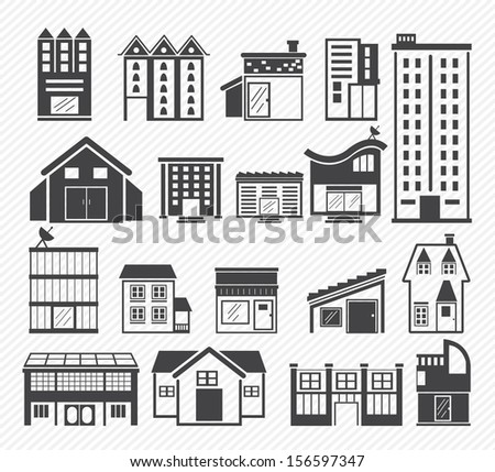 Building Icons isolated on white background
