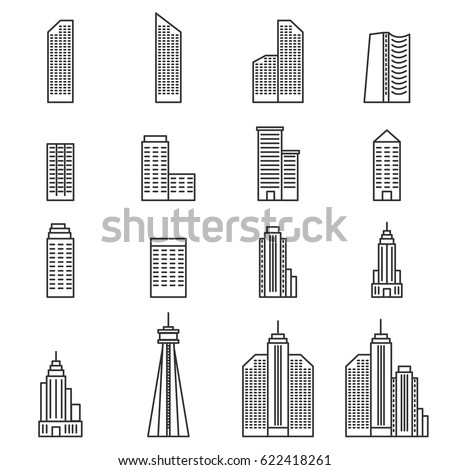 Building Icons . Line Vector vector illustration