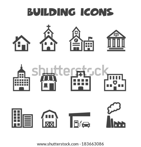 building icons, mono vector symbols
