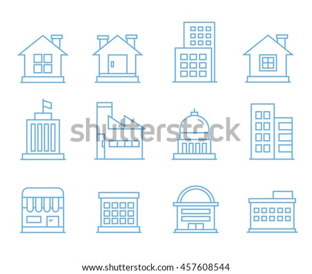 building icons, outline icons