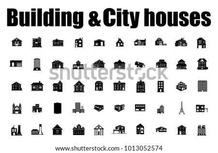 Building Icons Set. city houses Vector illustration