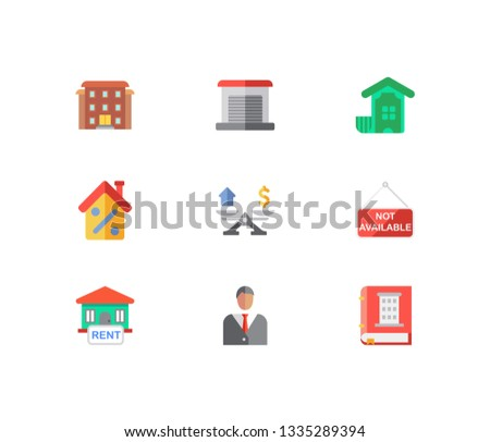 Building icons set. House for rent and building icons with residential area, property valuation and investment. Set of green for web app logo UI design.